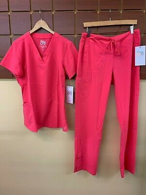 $31 • Buy NEW Barco One Pink Lemonade Solid Scrubs Set With Medium Top & Medium Pants NWT
