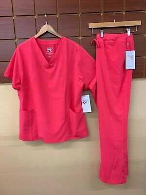 $15 • Buy NEW Barco One Pink Lemonade Solid Scrubs Set With 2XL Top & 2XL Pants NWT