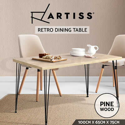 AU139.90 • Buy Artiss Dining Table 4 Seater Tables Wood Industrial Scandinavian Timber Metal