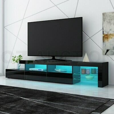 AU309.95 • Buy 240cm TV Stand Cabinet LED Entertainment Unit High Gloss Wooden 3 Drawers Black