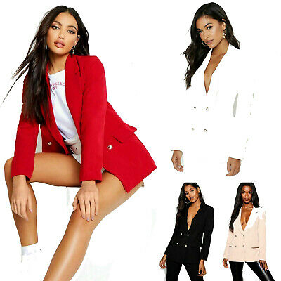 £12.99 • Buy Women's Gold Button Double Breasted Duster Coat Ladies Jacket Blazer Plus Size