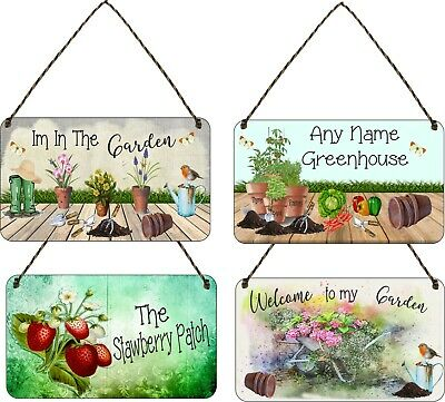 Personalised Garden Hanging Plaque Backyard Allotment Shed Sign Alcohol Flowers • 7.49£