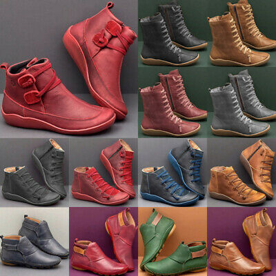 Women Arch Support Ankle Boot Side Zip Multi Styles Colors Wedge Flat Heel Shoes • 12.49£