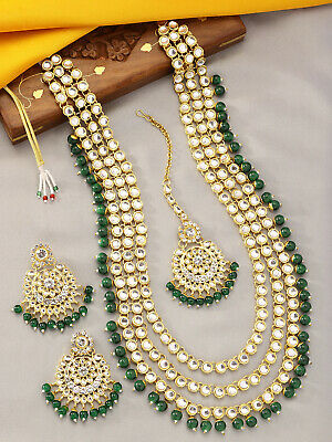 $24.99 • Buy Indian Necklace Bollywood Bridal Jewelry Bollywood Polki Kundan Earring Set