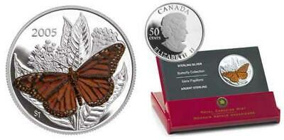 $21.51 • Buy Canada - 2005 Butterfly Monarch Proof 50ct Sterling Silver Coin With RCM Box/COA