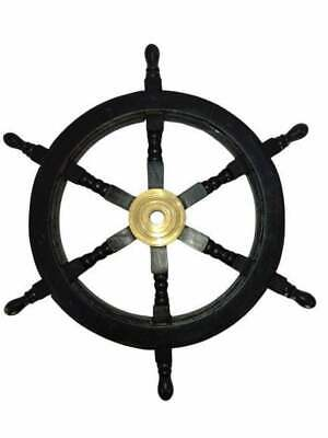 Ship Steering Wheel Pirate Decor Wood & Brass Wall Boat Captain  • 82£