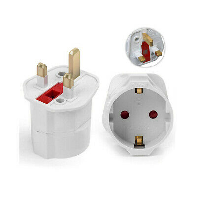 European Euro EU Schuko 2 Pin To UK 3 Pin Plug Adaptor Travel Mains Adapter • 3.49£