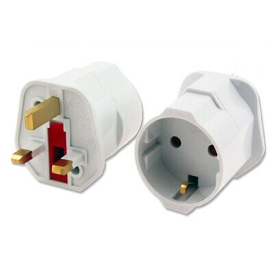2 Pin To 3 Pin Plug Adaptor EU Europ To UK Schuko Travel Mains Adapter • 3.39£