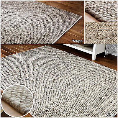 New Large Thick Grey Taupe Wool 3d Clearance Tufted Modern Sale Quality Area Rug • 94.04£