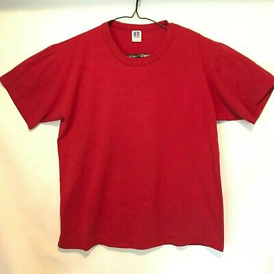 $ CDN14.20 • Buy Vintage Russell Athletic Mens Large T-Shirt Red Blank 50/50 Single Stitch USA