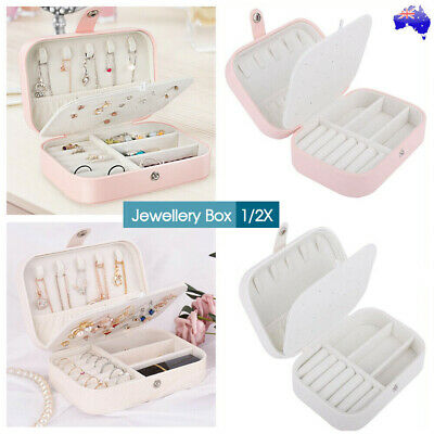 AU13.99 • Buy 1/2X Portable Jewellery Box Travel Ornaments Ring Storage Organizer Makeup Case