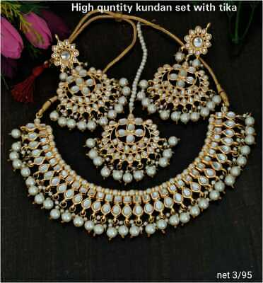 $14.99 • Buy Indian Bollywood Kundan Bridal Choker Necklace Jewelry Polki Wedding Set