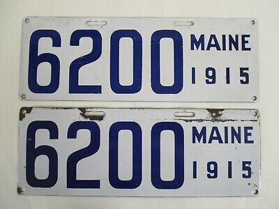 $ CDN362.75 • Buy NICE PAIR 1915 Maine PORCELAIN  License Plate Tag W Nice Number!