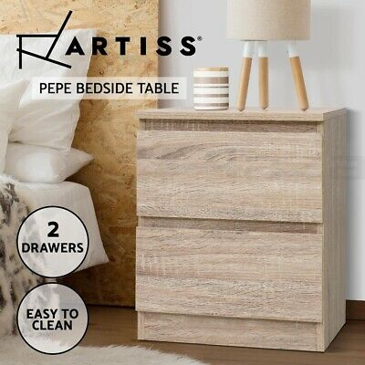 AU64.90 • Buy Artiss Bedside Tables Drawers Side Table Bedroom Furniture Nightstand Wood Lamp