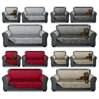 £15.74 • Buy VELVET Reversible Quilted Sofa Cover Furniture Protector Throw Waterproof STRAPS