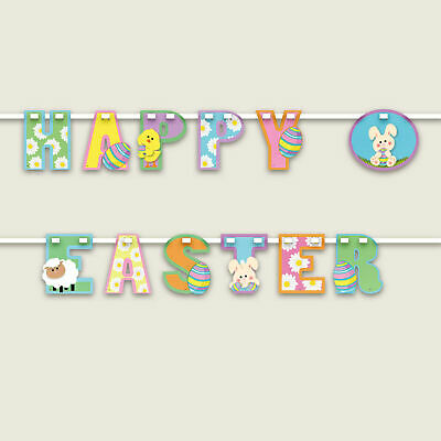 Happy Easter Bunting Party Decoration Egg Hunt Bunny Banner Colour Garland 06641 • 2.75£