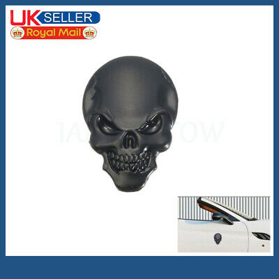 1pc 3D Skull Skeleton Motorcycle/Car Devil Metal Sticker Emblem Badge Black • 2.92£