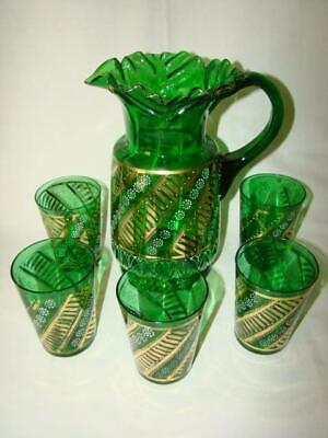 $49.95 • Buy Antique Victorian Ruffled EMERALD GLASS Enamel Painted PITCHER & 5 Tumblers