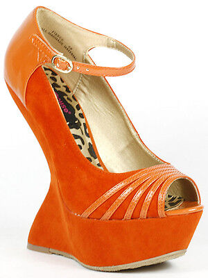 Orange Faux Suede Peep Toe Ankle Strap Mary Jane Curved Platform Wedge Dollhouse • 10.92£