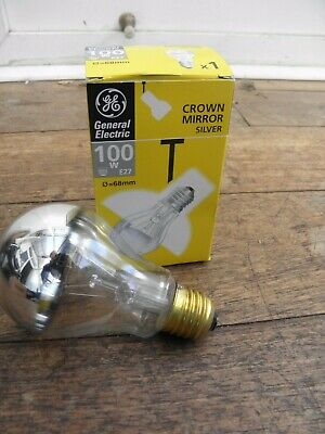 Crown Mirror Silver Bulb 100w E27 230v Lamp Light Silver Mirrored Cup Top GE • 8.99£