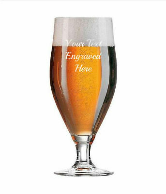Personalised 1 Pint Chalice Beer Lager Glass, Engraved Gift • 9.95£