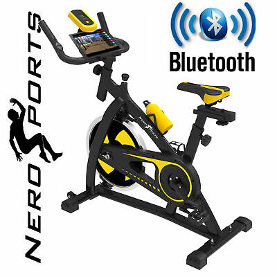BLUETOOTH Nero Sports Exercise Bike Cycle Indoor Training 12kg Spinning Flywheel • 279.99£
