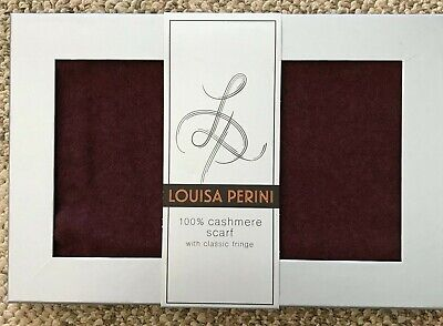 $49.99 • Buy Mens Louisa Perini 100% Cashmere Scarf With Classic Fringe Burgundy