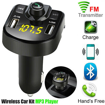 Bluetooth Car Kit FM Transmitter Wifi Radio Adapter USB Charger MP3 Player Mic • 6.87£