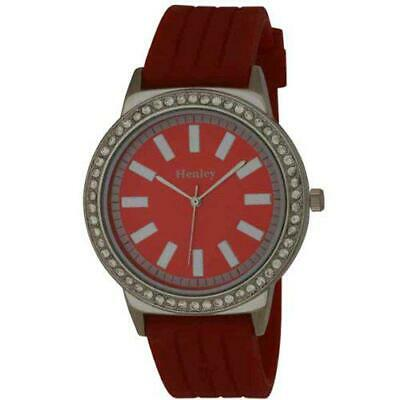£15.95 • Buy Henley Glamour Red Silicone Strap Watch With Diamante Crystals H0838.10