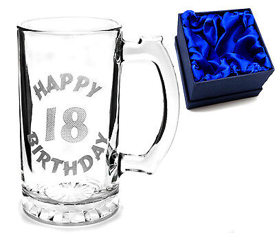 Engraved Happy 18th Birthday Celebration Glass Tankard In Satin Lined Gift Boxed • 15.99£