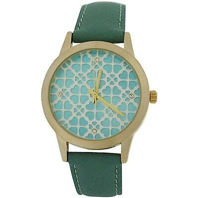 Anaii Pink Acacia Ladies Goldtone Heart Textured Dial Green PU Strap Watch AP789 • 35.95£