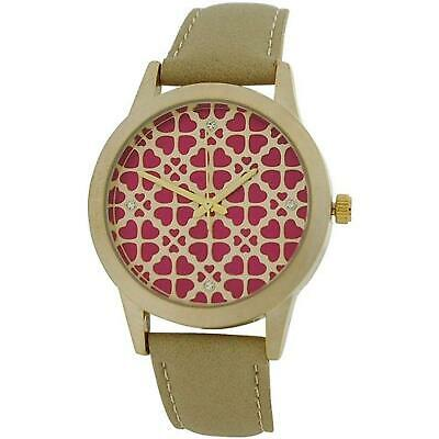 Anaii Pink Acacia Ladies Goldtone Heart Textured Dial Beige PU Strap Watch AP789 • 30.95£