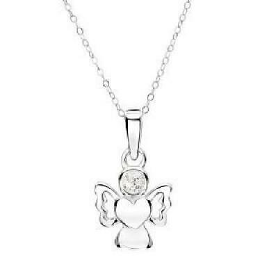 Jo For Girls Sterling Silver Angel Pendant Simulated April Birthstone Necklace • 22.95£