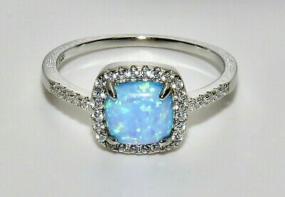 Sterling Silver Blue Opal & Zircon Crossover Ring - Real 925 Silver - All Sizes • 15.95£