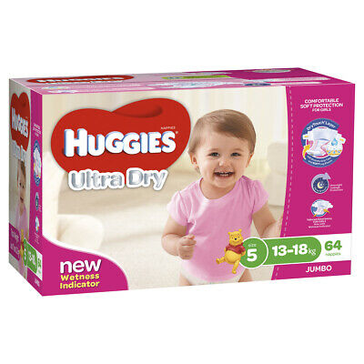 AU62.26 • Buy Huggies Ultra Dry Nappies, Girls, Size 5 Walker (13 - 18kg), 64 Nappies