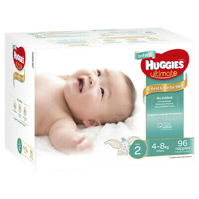 AU52.57 • Buy Huggies Ultimate Nappies Unisex Size 2 Infant (4 - 8kg) 96 Pack