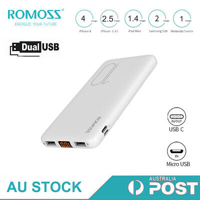 AU19.79 • Buy ROMOSS Slim Power Bank 10000mAh 2USB 2.1A Fast Charge Portable Charger Battery