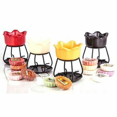 Official Yankee Candle Petal Bowl Melt Burner Warmer Dish + 6 Assorted Wax Tarts • 13.99£