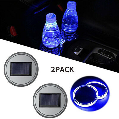 $9.68 • Buy 2PC Solar Cup Pad Car Accessories LED Light Cover Interior Decoration LightBITY