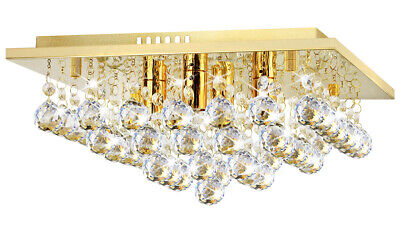 £46.99 • Buy Modern LED Crystal Droplet Square Chandelier Classic Gold Ceiling Light M0142