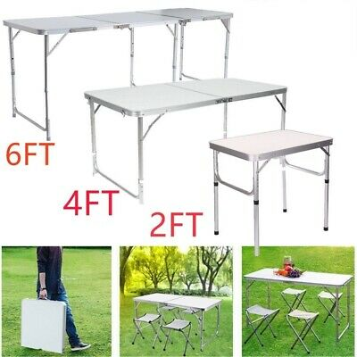 2FT 4FT 6FT Aluminum Folding Camping Picnic Table Party Kitchen Outdoor Garden • 29.99£