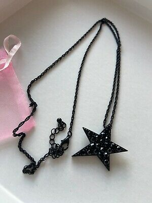 Funky Black Star Necklace Pendant Long Chain Retro Indie Emo Gothic Fashion • 12£