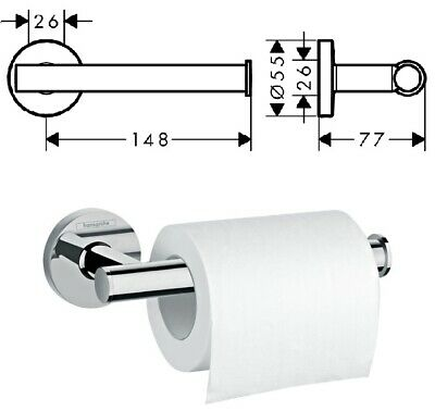 Hansgrohe Logis Open Toilet Paper Roll Holder Chrome - 41726000 No Cover • 27.95£