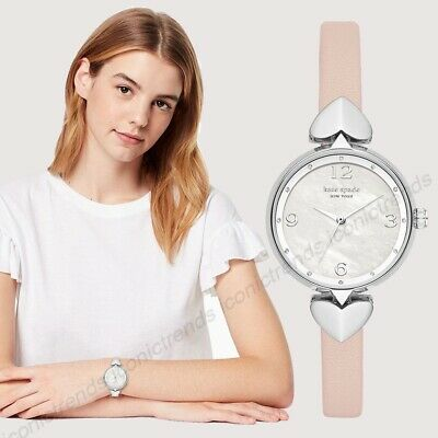 $ CDN118.51 • Buy NWT 🌸 Kate Spade KSW1550 Hollis Pink Leather 30mm Hearts Silver Tone Watch