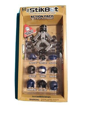 #STIKBOT ACTION PACK ROLE PLAY ACCESSORY Helmet Pack Zing Global Ltd NIB • 10.01£