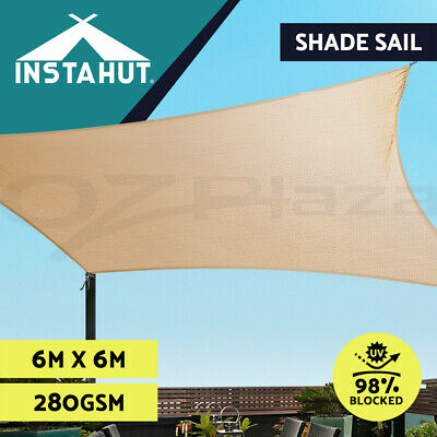 AU138.90 • Buy Instahut Sun Shade Sail Cloth Shadecloth Outdoor Canopy Square 280gsm 6x6m