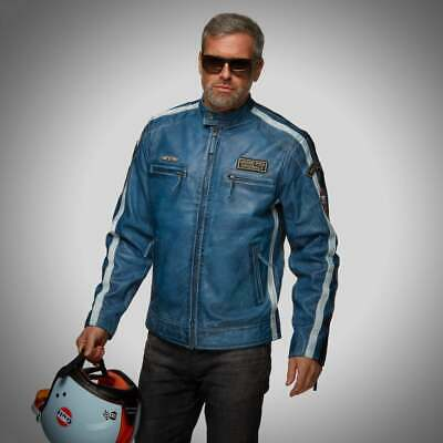 Grandprix Originals Classic Gulf Race Leather Jacket Blue • 212£