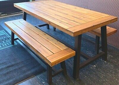 $400 • Buy Wayfair Indoor Farmhouse 3 Piece Dining Table And Bench Set