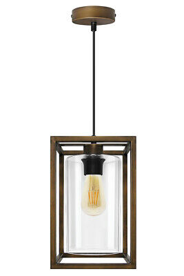 Vintage Brass Glass Shade Hanging Pendant Ceiling Lantern Pub Diner Light M0155 • 24.99£
