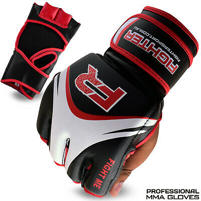 AU28.99 • Buy MMA Gloves Grappling Boxing Punch Bag UFC Fighting Training Black Rex Leather